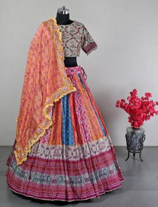 Wedding wear multi color lehenga choli in silk