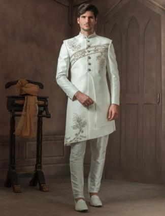 Wedding wear off white hue raw silk fabric indo western
