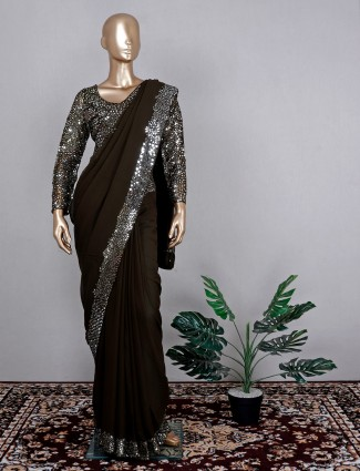 Wedding wear olive georgette saree with ready made blouse