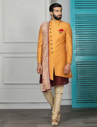 Wedding wear orange hue terry rayon indo western