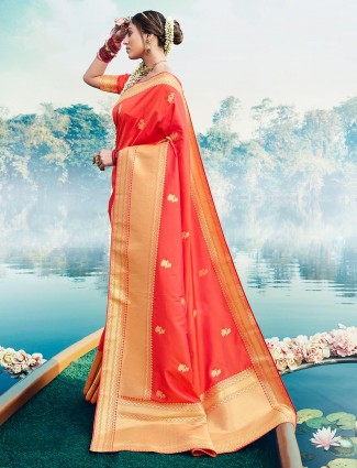 Wedding wear peach banarasi silk saree for women