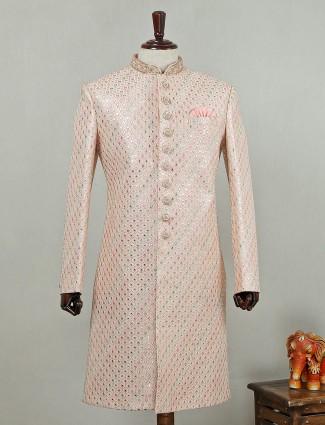 Wedding wear peach colored sherwani in silk