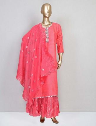 Wedding wear pink cotton salwar kameez