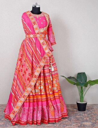 Wedding wear pink cotton silk lehenga choli