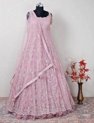 Wedding wear pink georgette gown for women