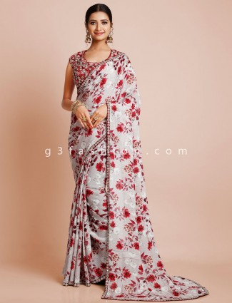 Wedding wear pink georgette saree with ready made blouse