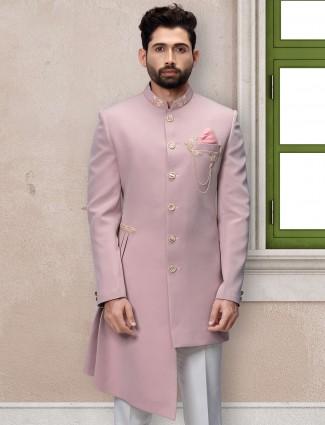 Wedding wear pink terry rayon indo western