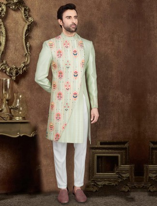 Wedding wear pista green silk indo western