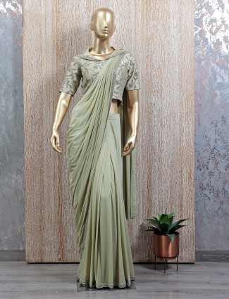 Wedding wear pista green tint ready to wear saree with readymade blouse