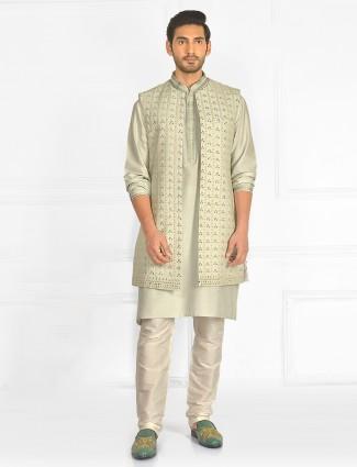 Wedding wear pista green waistcoat set with thread work details