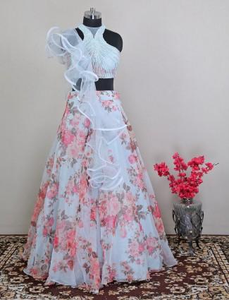 Wedding wear printed blue net lehenga choli