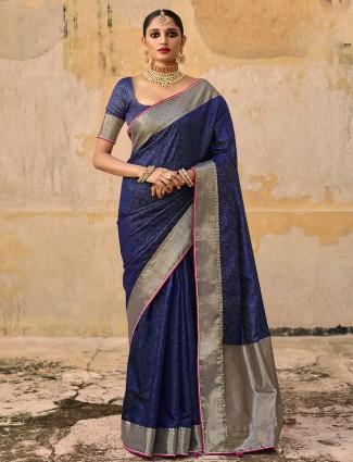 Wedding wear printed silk saree in indigo blue for feminism