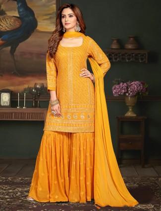 Wedding wear punjabi georgette orange sharara suit