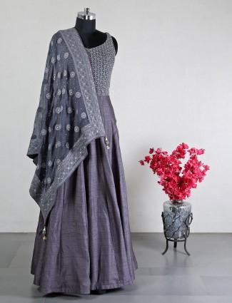 Wedding wear Raw silk grey anarkali suit