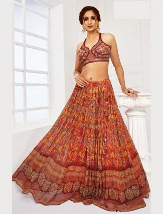 Wedding wear rust georgette designer lehenga choli