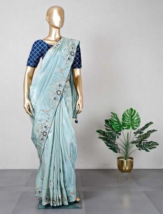 Wedding wear satin green saree