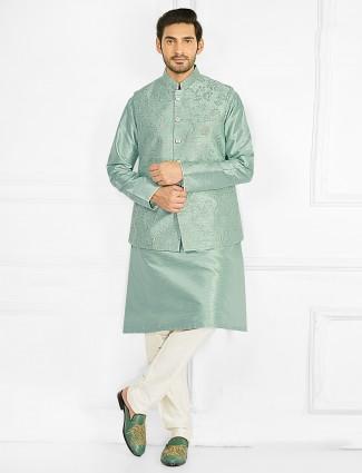 Wedding wear sea green hue waistcoat set for mens
