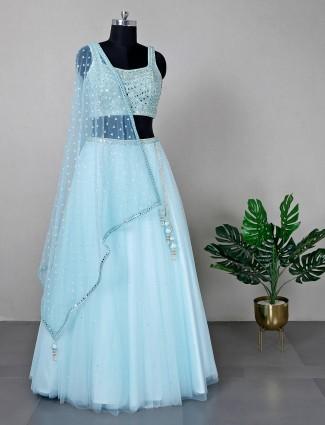 Wedding wear sea green lehenga choli