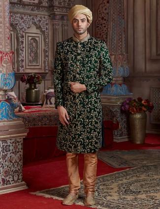 Wedding wear silk green sherwani