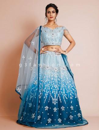 Wedding wear sky blue lehenga choli for women