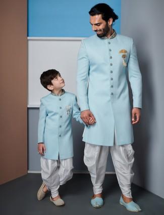 Wedding wear solid aqua raw silk indo western for father and son