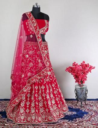Wedding wear unstitched red velvet lehenga choli