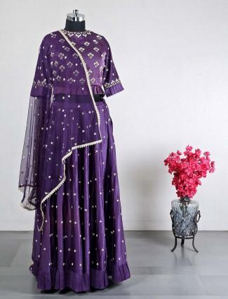 Wedding wear violet lehenga choli in cotton silk