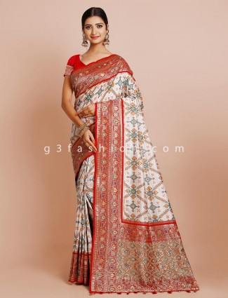 Wedding wear white patola saree with unstitched blouse