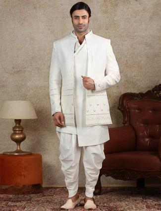 Wedding wear white silk mens indo western