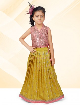 Wedding wear yellow and pink lehenga for little girls