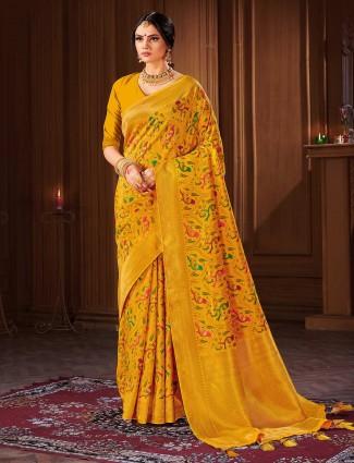 Wedding wear yellow banarasi silk saree