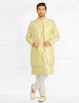 Wedding wear yellow colour waistcoat for mens