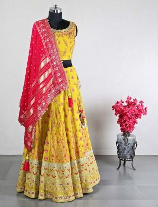Wedding wear yellow georgette lehenga choli for women