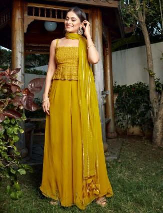 Wedding wear yellow georgette palazzo suit