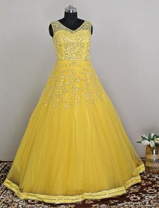 Wedding wear yellow net gown