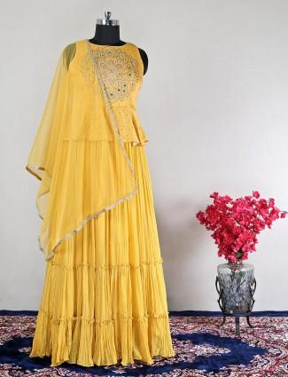 Wedding wear yellow silk anarkali suit