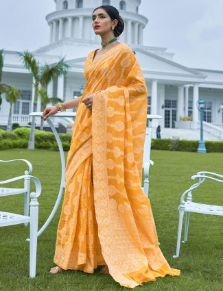 Wedding Yellow saree in georgette with thread work
