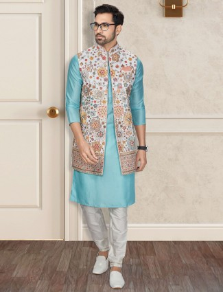 White and aqua silk mens waistcoat set for parties