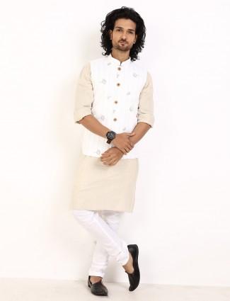 White and beige stripe party wear cotton linen waistcoat set