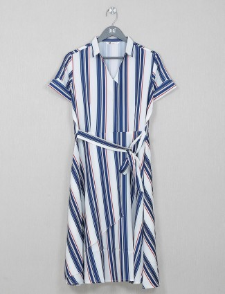 White and blue cotton casual wear kurti for gorgeous women