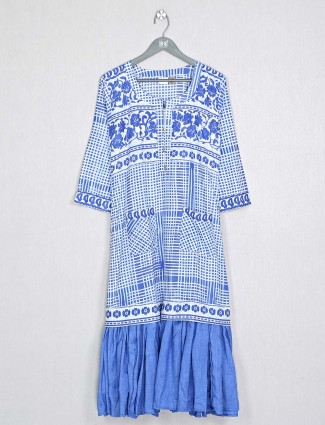 White and blue cotton printed kurti for women