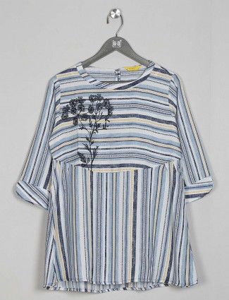 White and blue cotton top for women