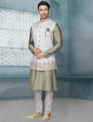 White and green raw silk mens waistcoat set