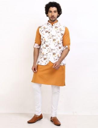White and yellow printed cotton mens waistcoat set