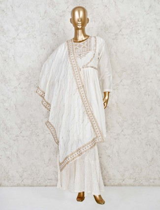White angrakha jacket style kurti with palazzo pant in georgette