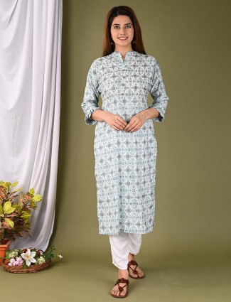 White casual printed look kurti in cotton