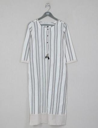 White casual wear cotton kurti in stripe style