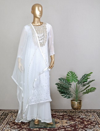 White charming lucknowi palazzo suit for wedding parties look