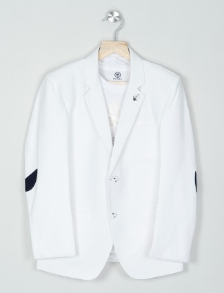 White color solid party wear boys blazer