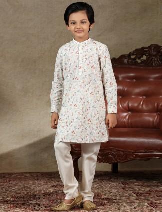 White cotton boys kurta suit festive wear